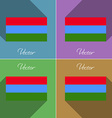 Flags Karelia Set of colors flat design and long vector image vector image