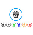 full recycle bin rounded icon vector image vector image