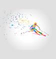 giant slalom ski racer silhouette color vector image vector image