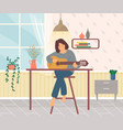 girl sitting on chair resting at home with music vector image