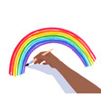 hands drawing rainbow arc vector image vector image