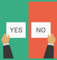 hands pointing vote yes or no sign vector image vector image