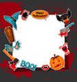 happy halloween frame with cartoon holiday sticker vector image vector image