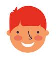 happy young boy face character vector image