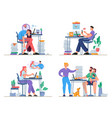 home office problem lack motivation and stress vector image vector image