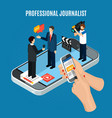 isometric interview online composition vector image vector image