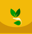 leaf in hand logo organic life symbol eco planet vector image vector image