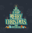 mid century modern merry christmas greeting card vector image