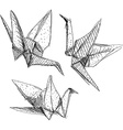 Origami paper cranes set sketch The black line on vector image vector image