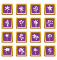 palm tree icons set purple vector image vector image