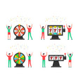people with wheel fortune and 777 slot machine vector image
