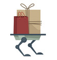 robotic appliance delivering parcels and bags to vector image