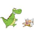Royalty Free RF Clipart Angry Dinosaur Chasing A vector image vector image