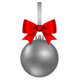 silver christmas ball on a ribbon with a beautiful vector image vector image