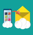 smarthphone sending message using internet vector image vector image