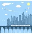 train running through city railway and bridge vector image