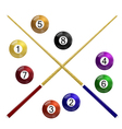 Two cue and billiard balls on a white background vector image