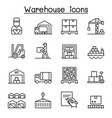 warehouse delivery shipment logistic icon set in vector image