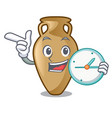 with clock amphora character cartoon style vector image vector image