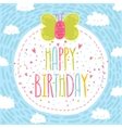 Happy birthday text label with butterfly vector image