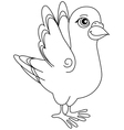 Unpainted funny cartoon pigeon positive vector image