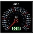 2015 year calendar speedometer car in June vector image vector image