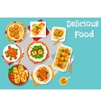Baked dishes for healthy lunch icon vector image vector image