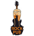 banner for rock pub with glass of beer and guitar vector image vector image