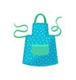 blue polka dot apron with green strings women s vector image