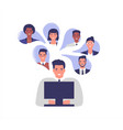 business people team work online from home vector image