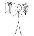 cartoon of man or businessman with gift box or vector image