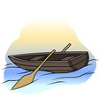 cartoon wooden brown rowboat with two oars vector image