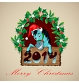 Christmas Blue Horse vector image