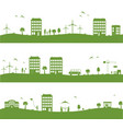 city with cartoon houses green eco panorama vector image vector image