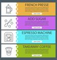 coffee web banner templates set vector image