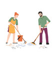 couple people sweeping and washing mops floor vector image vector image