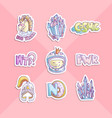 cute cartoon girl power stickers astronaut girl vector image vector image