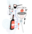 Drinks and food vector image