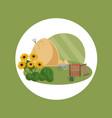 farm hay flat style summer vector image vector image