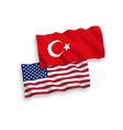flags turkey and america on a white background vector image