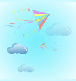 fly color kites surfing in sky above the cloud vector image vector image