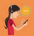 girl mobile headphones chat communication social vector image