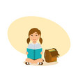 girl sits on ground on lawn reads school book vector image
