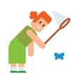 Girl tries catch butterflies with net cute cartoon vector image