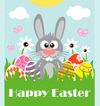 happy easter background with funny frabbit vector image vector image