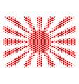 hexagon halftone japanese rising sun icon vector image vector image