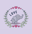 love card with elephant vector image