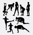 male and female training sport silhouette vector image vector image
