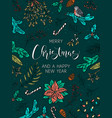 merry christmas and happy new year card poster vector image vector image