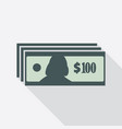 one hundred dollars banknotes icon vector image